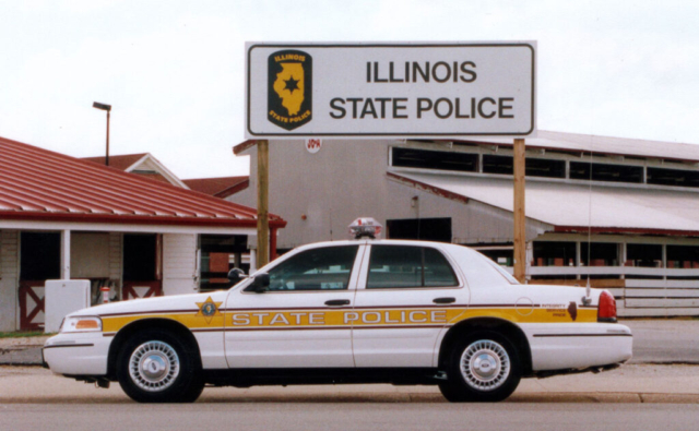 This patrol vehicle is a 2001 Chevrolet Impala on the Illinois State Fairgrounds.