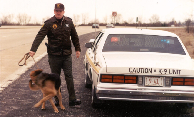"K-9 Team with Trooper William ""Rusty"" Smith – 1980s"