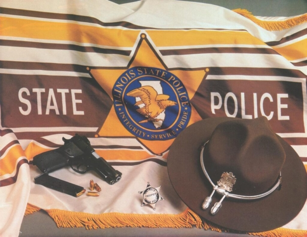 ISP flag, service weapon, Montana Peak hat & trooper star