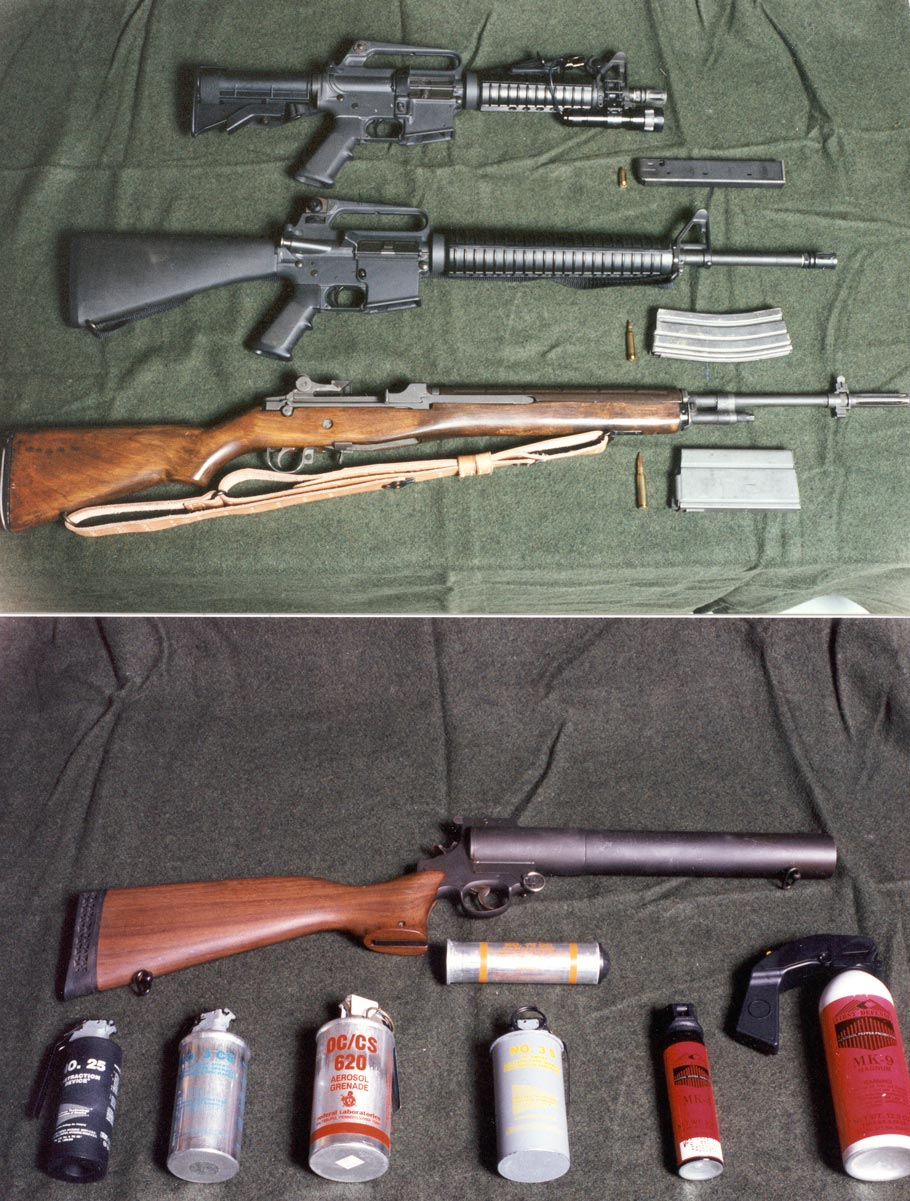 From top to bottom, CAR-15 (9mm), AR-15 (5.56), Springfield Armory M1A (.308) 7.62x51m NATO & Smith & Wesson Model 276 (37mm) Gas Gun